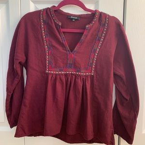MADEWELL long sleeved burgundy top with embroidery